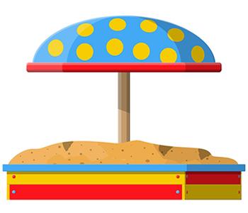 Sandkasten mit Dach Grafik